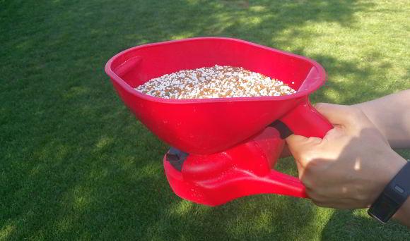 Rasendünger richtig ausbringen mit einem Schleuderstreuer